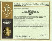 API-600 Certificate emitido por American Petroleum Institute