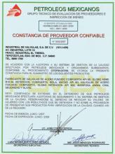 Certificate NMX-CC-9001 by PEMEX